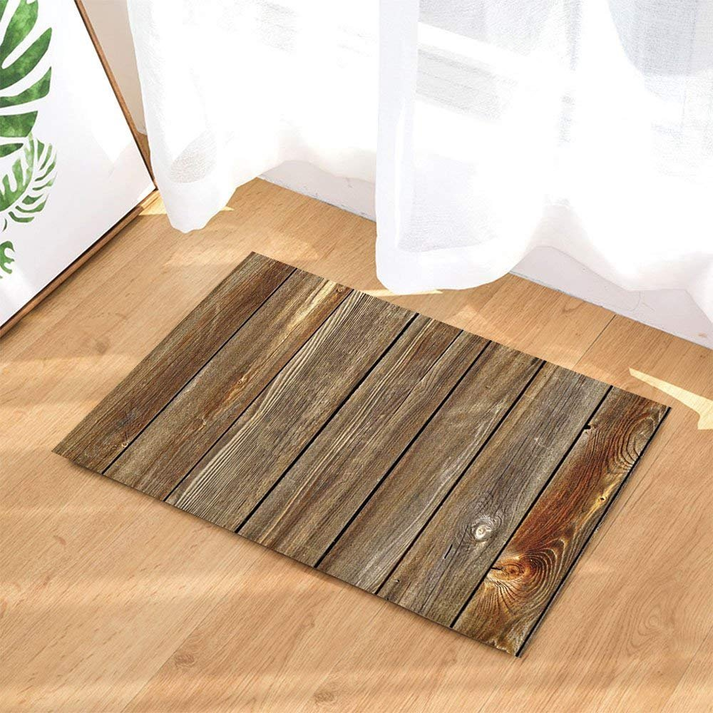Rustic Wood Decor Vertical Barn Wooden Wall Planking Texture Bath Rugs Non-Slip Doormat Floor Entryways Indoor Front Door Mat Kids Bath Mat 15.7x23.6in Bathroom Accessories