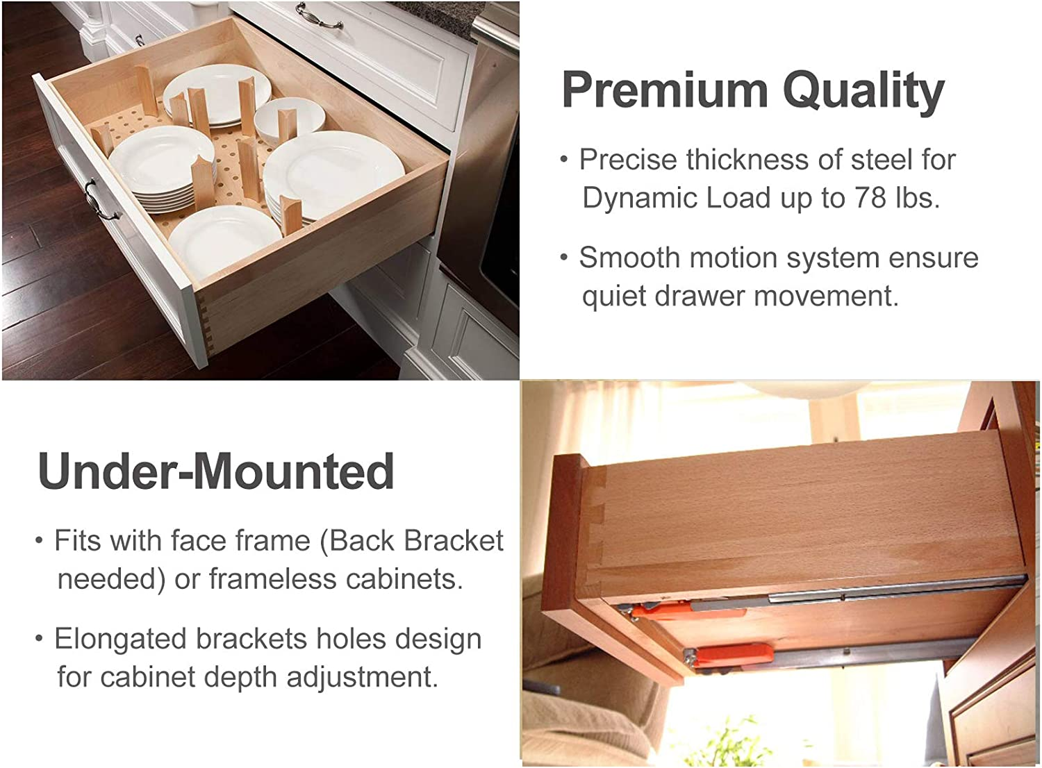 Back Bracket and Screws Locking Device Bottom Mount Slow Self Closing Cabinet Metal Drawer Rails with Runner VALISY 2 Pair of 21 Inch Ball Bearing Full Extension Soft Close Undermount Drawer Slides