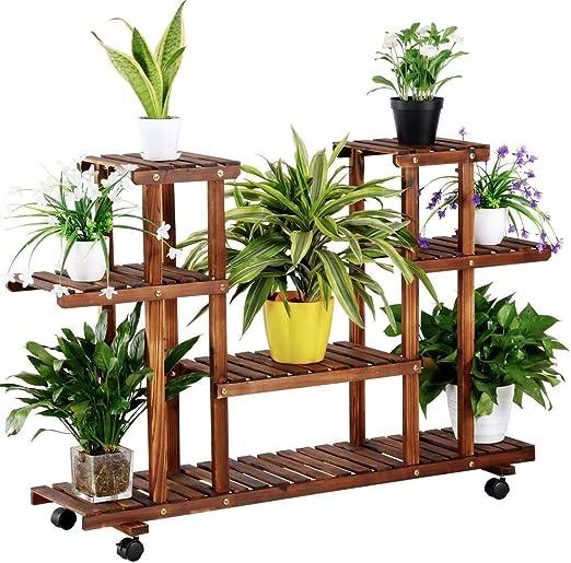 Yaheetech Estantería para Plantas Soporte Madera de Macetas Estante Escalera con Ruedas Soporte Decorativo para Jardín: Amazon.es: Jardín
