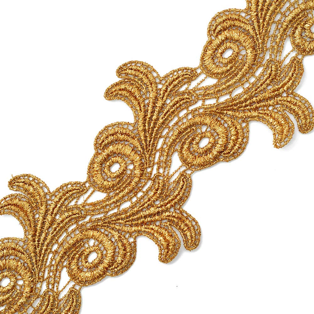Costume or Jewelry 4 Inch by 1 Yard Crafts and Sewing LP-MX-4659 Metallic Gold Lace Trim for Bridal