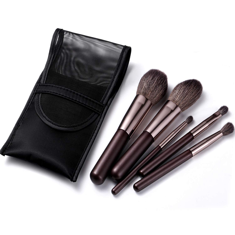 Portable Natural Goat Hair Makeup Brush Set With Travel Case,5PCS Mini Cosmetic Brushes Kit-Includes-Powder-Blush- Blending-Eyeshadow And Detail Eye Brush(Travel Size)