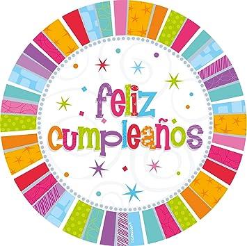 8 Pappteller Radiant Birthday Herzlichen Gluckwunsch Auf Spanisch