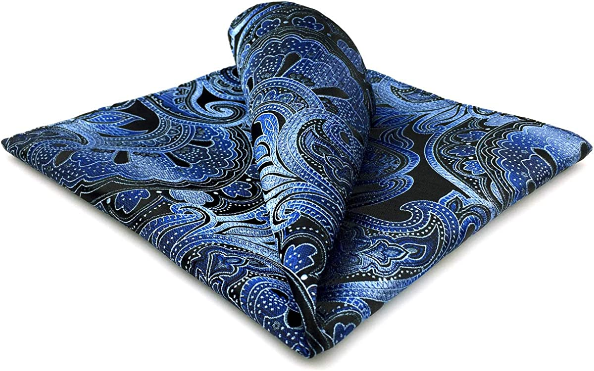 Shlax/&Wing Geometric Blue Black Pocket Square For Men Jacquard Woven Paisley Hanky
