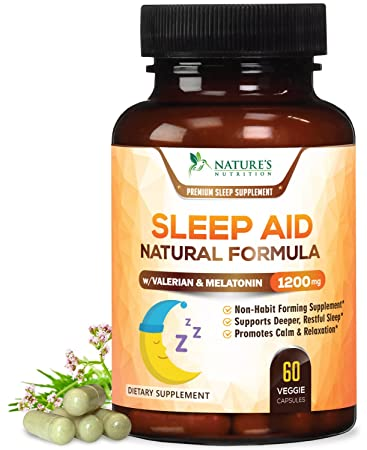 Natural Sleep Aid Extra Strength Herbal Sleeping Pills with Melatonin, Valerian, Inositol & Chamomile