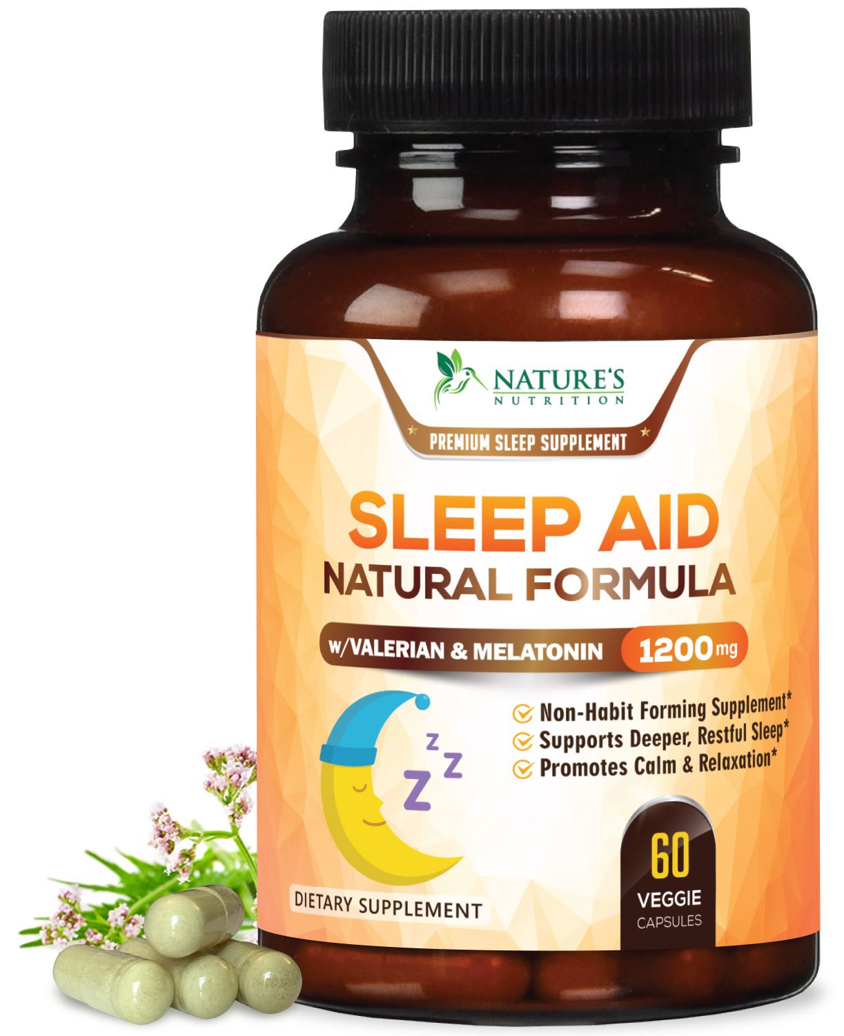 Natural Sleep Aid Supplement (Extra Strength) 1200mg - Non-Habit Forming Smart Sleeping Pills & Adrenal Fatigue with Melatonin, Valerian, Chamomile & Magnesium - Relax and Calm Formula - 60 Capsules
