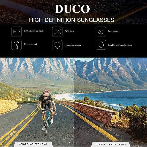 Sport Duco Lunettes Polaris/ées pour Hommes Montures Super L/ég/ères en TR90 DC6201 Course Cyclisme