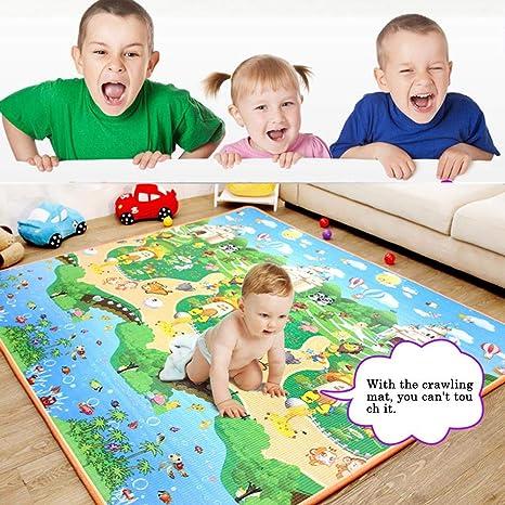 happygirr Colchoneta para bebés de Doble Cara para niños, colchoneta de Juegos para niños, Goma Espuma, Resistente a la Humedad, Color Resistente a ...