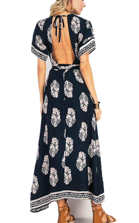 CHIC DIARY Damen Frauen Sommerkleid Kleider Maxikleid Lang Kleid