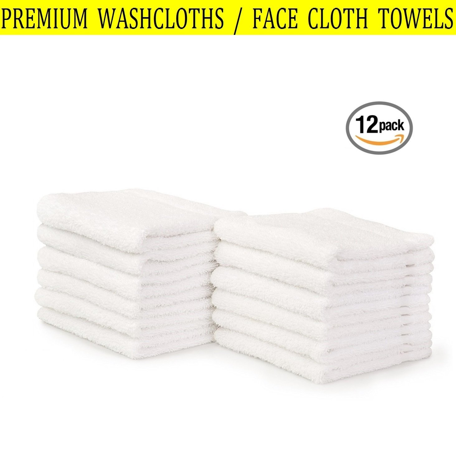 Premium Washcloth Towel Set | Pack of 12 White 13 x 13 Inch Wash Cloth | 100% Super Soft Cotton, Highly Absorbent, Machine Washable, Multi-purpose | Ideal for Face Cleansing, Gym, Spa, Bathroom ... ✔️
