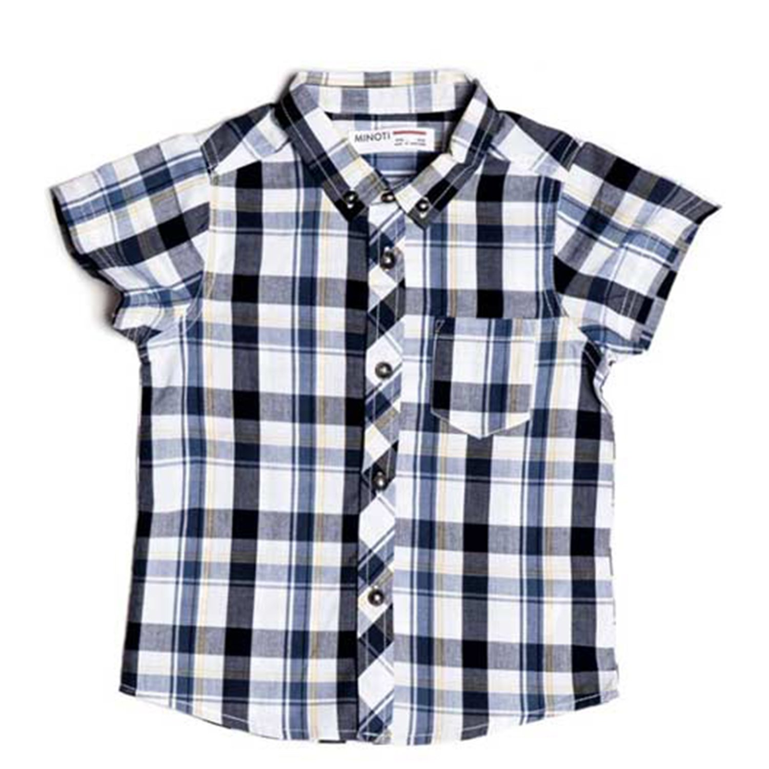 Minoti Boys Short Sleeve Checked Shirt Colour Blue.