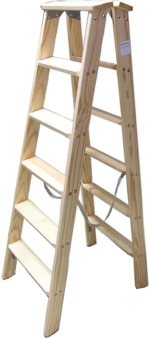 Klappleiter 2x6 Stufen Stehleiter Holz Holzleiter Stufenleiter Holztritt Deko Leiter