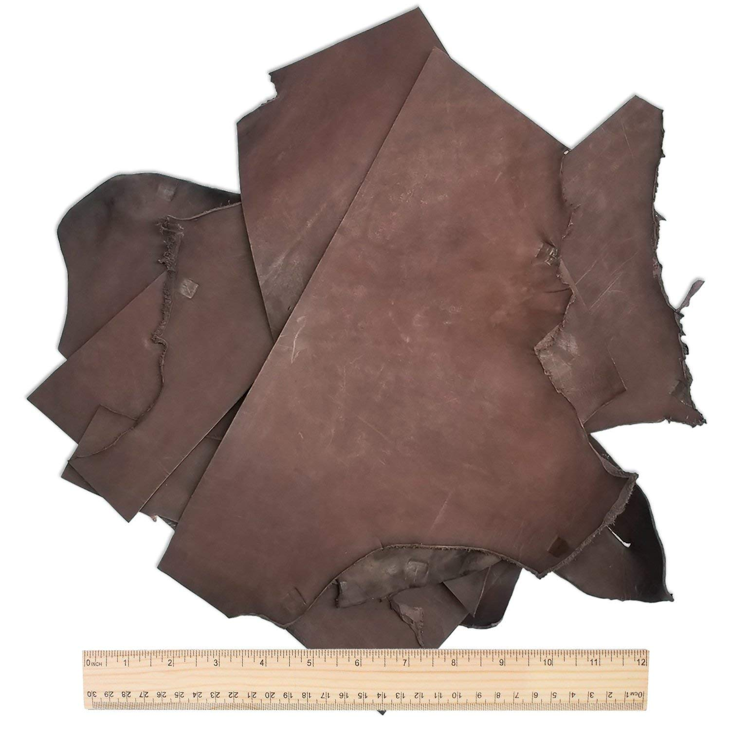 5 Pounds of, Large, Usable Holster & Sheath Leather Scraps, Rich Havanna Brown Color, Molds and Tools Well, Great For Leather Crafting, Holster and Sheath Making, USA Hide by Outfitters Supply (Image #2)