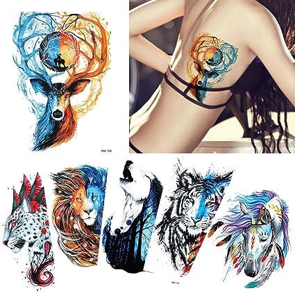 6 hojas misterioso estilo Colored Dibujo Cuerpo Tatuaje Temporal ...