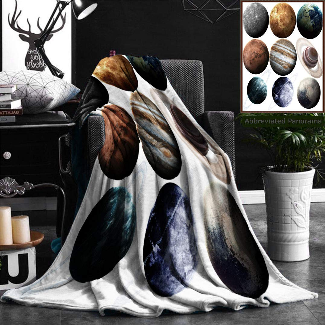 Unique Custom Flannel Blankets Isolated Set Of Planets In The Solar System Elements Of This Image Furnished By Nasa Super Soft Blanketry for Bed Couch, Twin Size 60'' x 80''