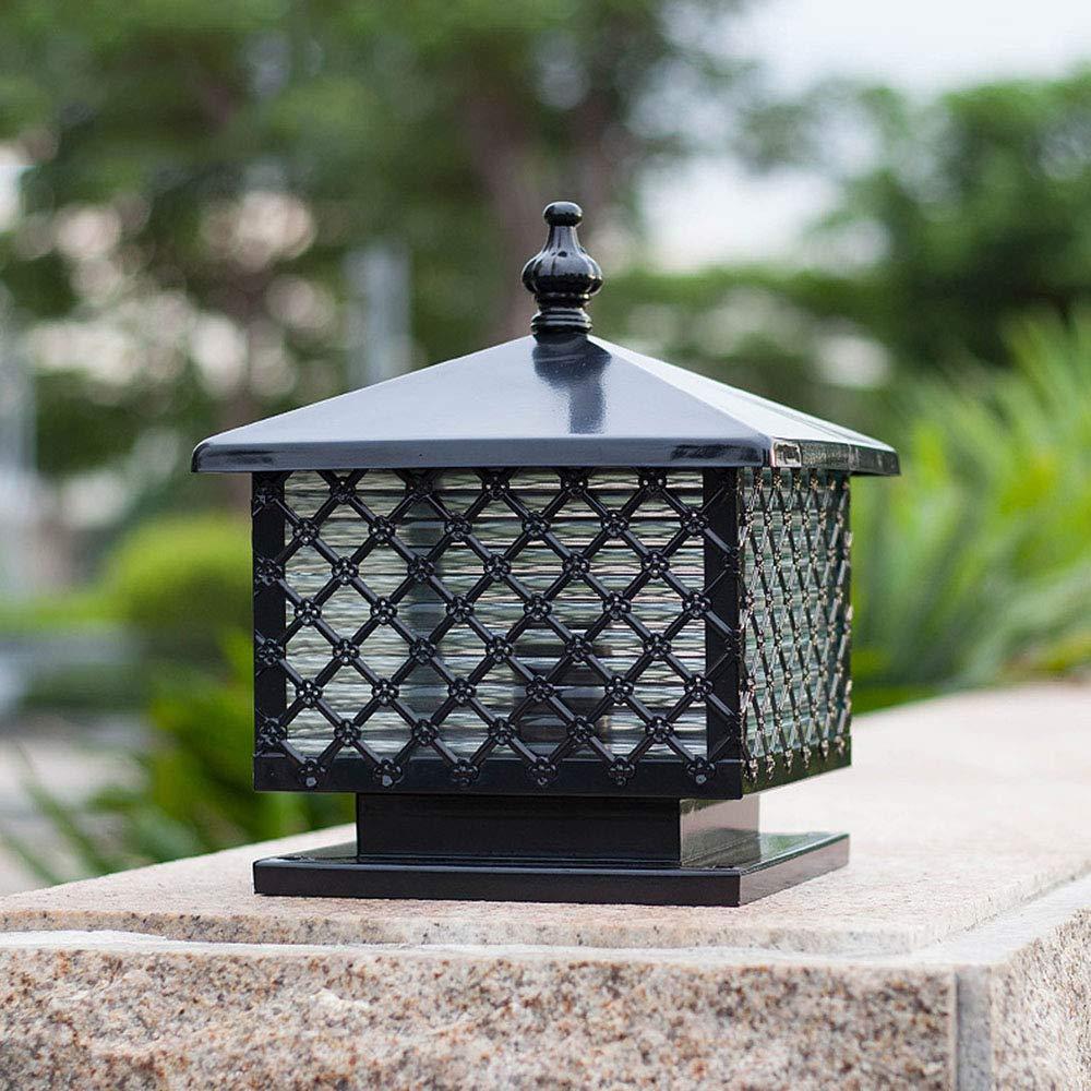 37CM Au/ßen S/äulenlampe Aussenlampe Schwarz E27 Metall Glas Wasserdichte Pollerlampe Rasen-Lampe Hof Garten Terrasse T/ürpfosten Lamp Pollerleuchte Zaunlampe,27 30
