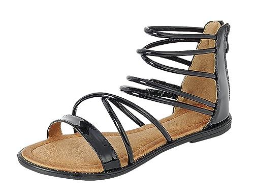 3eebb5e3a2873 Cambridge Select Women s Open Toe Crisscross Ankle Strappy Flat Sandal (5  B(M)