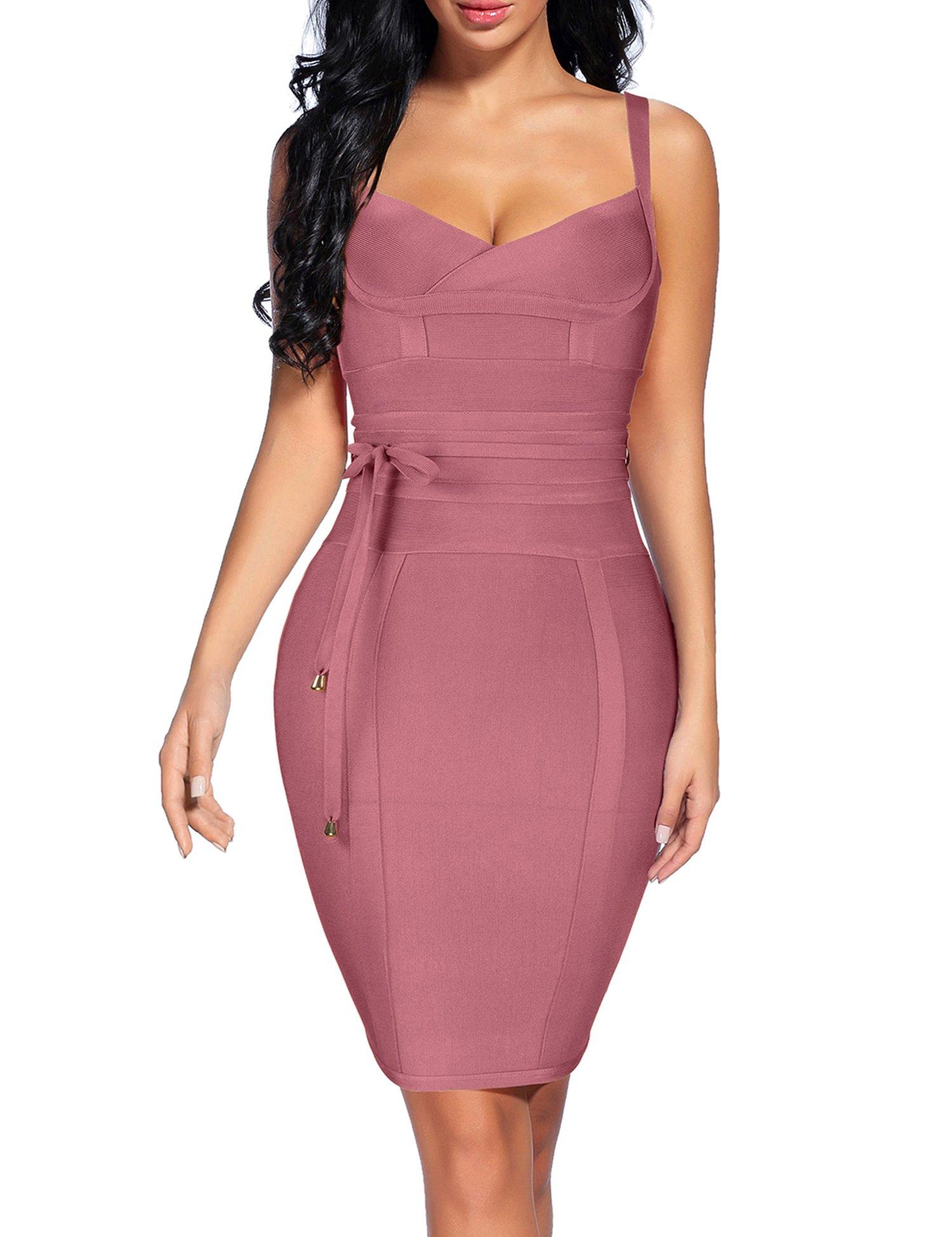Madam Uniq Spaghetti Strap Bandage Bow Tie Sashes Prom Midi Dress (M, Purple)