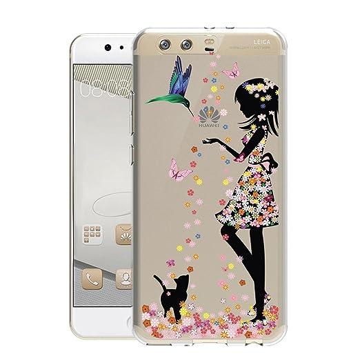 3 opinioni per Huawei P10 Plus Cover , YIGA Flower Girl Dell'uccello Della Farfalla Trasparente