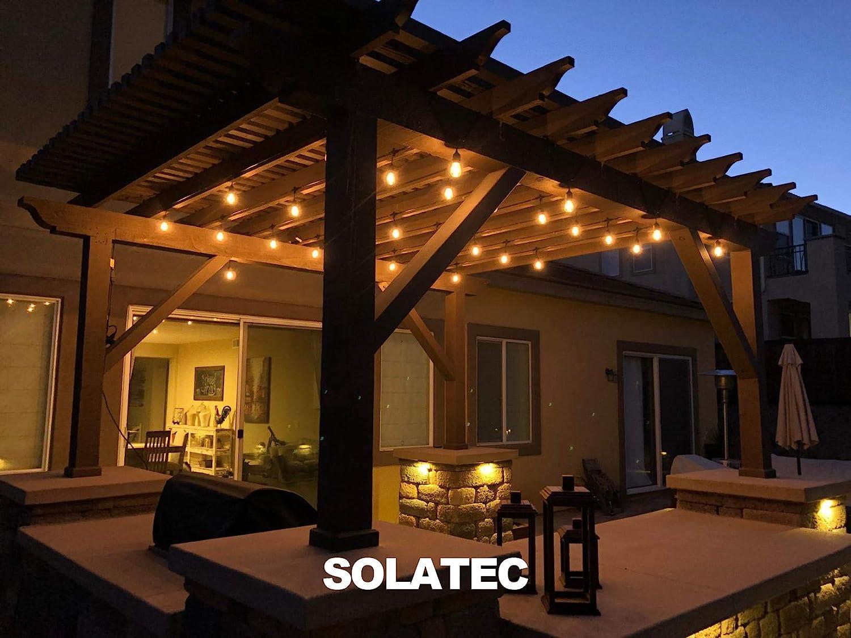 Solatec - Cadena de luces de led irrompibles, 14,6 m, 15 lámparas colgantes para comercios, impermeables, para decoración de patio, jardín, balcón o ...