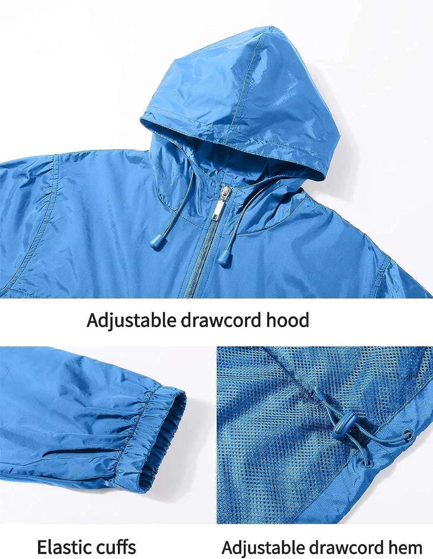 Travel Camping Lightweight Packable Raincoat for Outdoor GEEK LIGHTING Mens Waterproof Hooded Rain Jacket