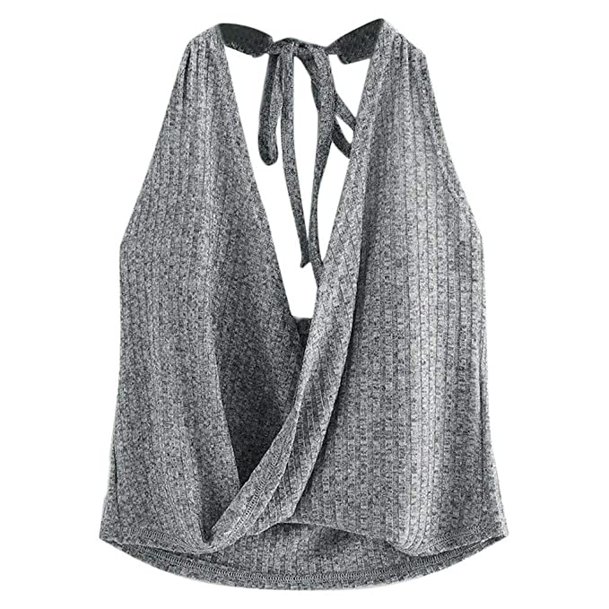 TOPKEAL Chaleco Casual Bandage Blusa sin Mangas Elástica de Verano para Mujer