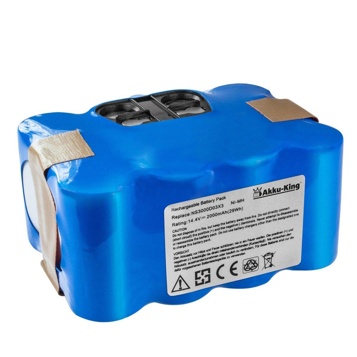 Akku-King 20112212 batería recargable Níquel-metal hidruro (NiMH) 2000 mAh 14,4 V - Accesorio para aspiradora (Robot vacuum, Batería, Azul, Blanco, ...