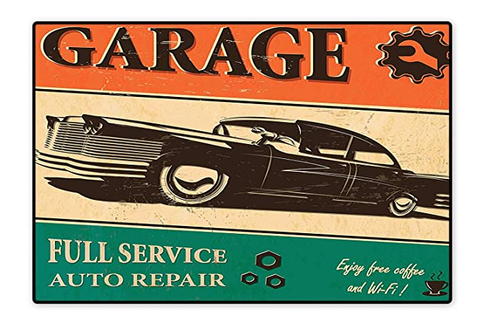 Amazon Anti Static Rugs Garage Retro Poster with Classic Car