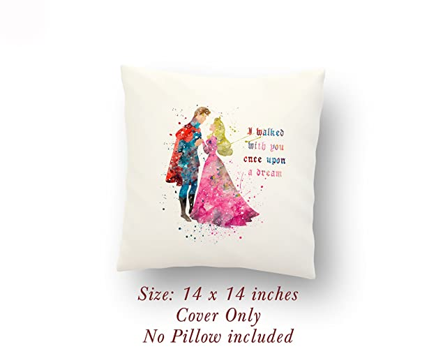 Aurora and Prince Phillip Sleeping Beauty Love Gift Quote 14 x 14 inches  Pillow Cover