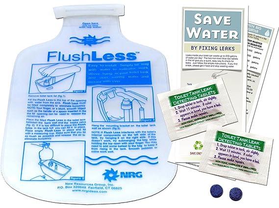 Home Water Bathroom Toilet Saving Kit   Low Flush Displacement Bag Toilet Tummy & Leak Detecting Dye Tablets - Toilet Repair Kits - Amazon.com