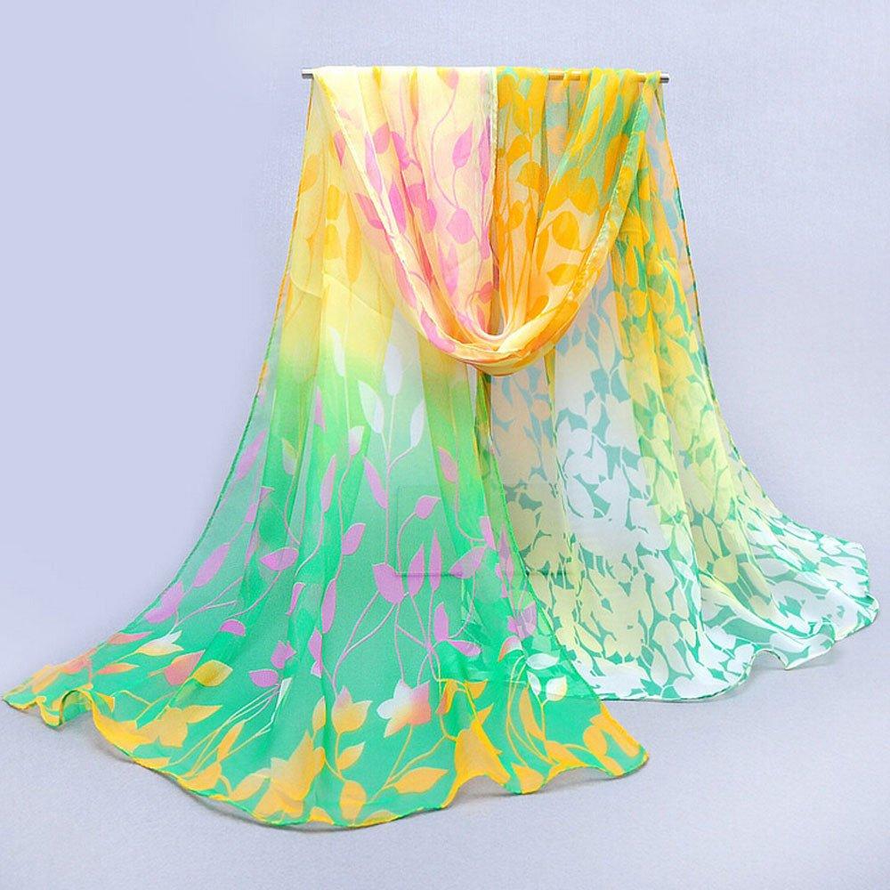 UPAKING Scarves For Women fresh and cool) Design Printed Silk Soft Silk Chiffon Shawl Wrap Wraps Scarf