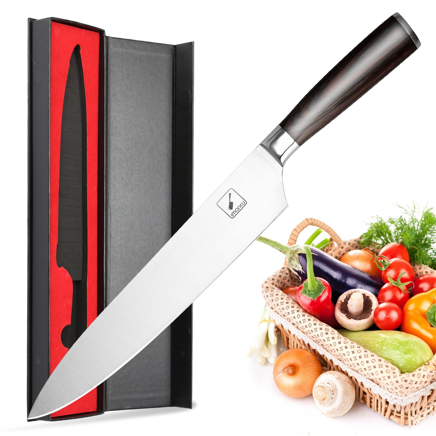 Imarku 10 Inch Pro Chef's Knife -High Carbon German Steel Cook's Knife with Ergonomic Handle
