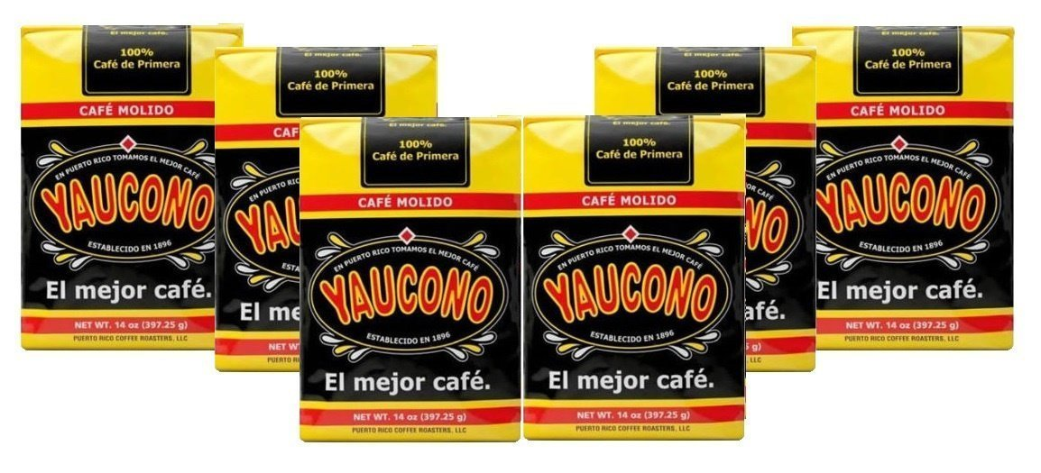 Cafe Yaucono Ground Puerto Rican Coffee 6 Pack (14 Ounces) by Yaucono