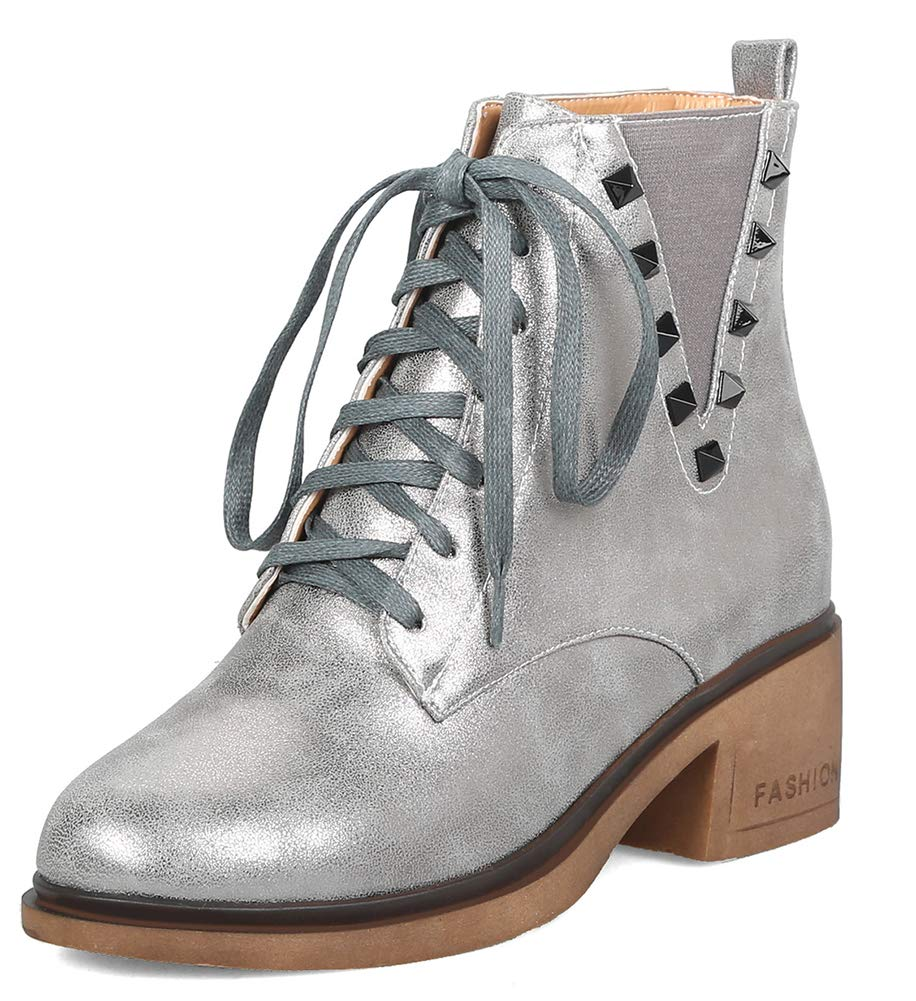 Aisun Femme Mode Brillant Mode Cloutés Talon B000W069PS Femme Moyen Martin Bottines Gris 337f867 - fast-weightloss-diet.space