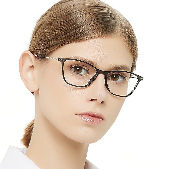 d90ce072d2 OCCI CHIARI Gafas ópticas marco moda lentes ópticas gradiente color luz y  super fino acetato flexible marcos con bisagra fija y lentes claras para  mujer: ...