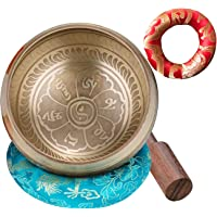 CAHAYA Singing Bowl Tibetan Set Meditation Sound Bowl 3.7 Inches with 2 Cushions, 1 Mallet Lead-Free for Yoga, Deep…