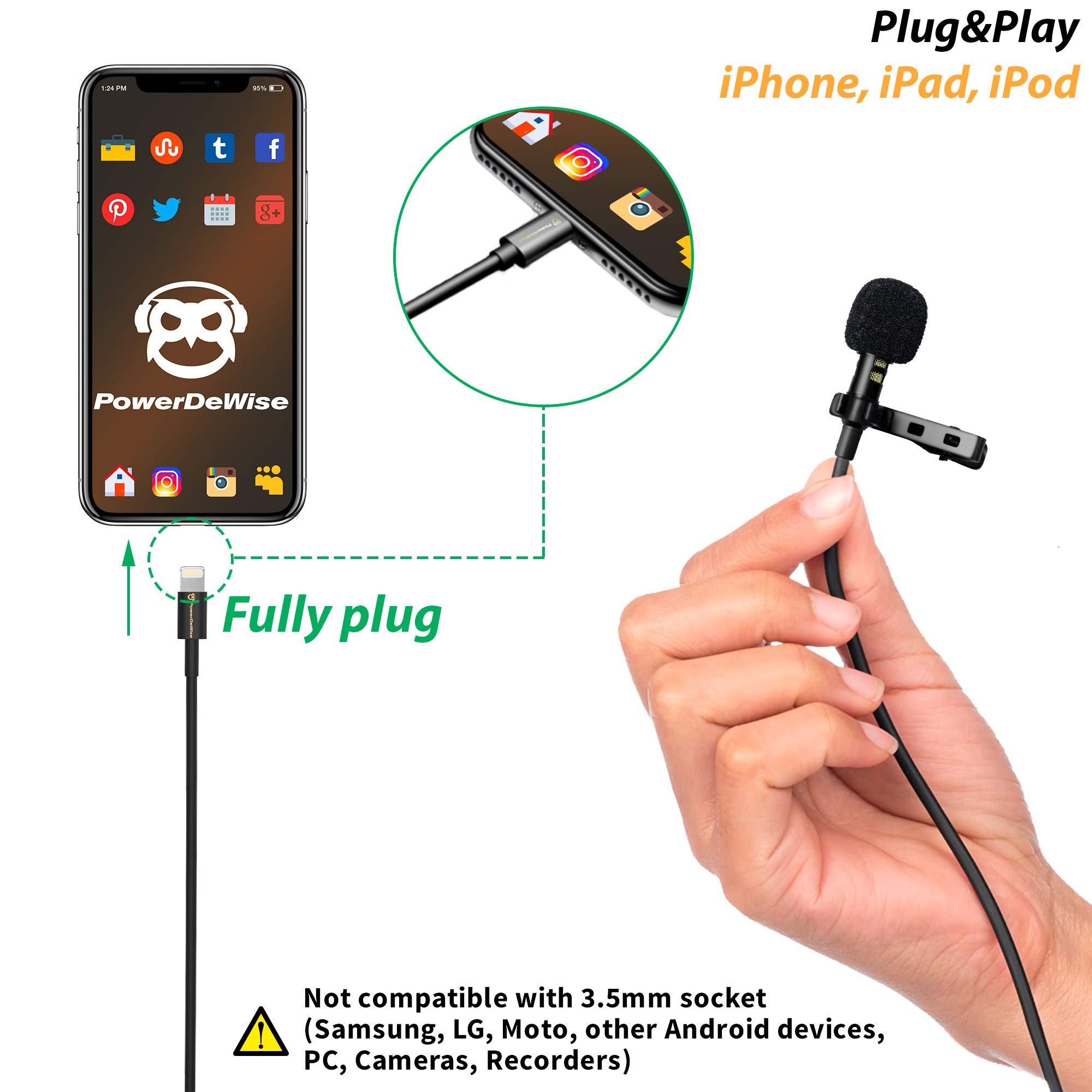 PowerDeWise Microphone for iPhone with Lightning Connector - iPhone Lightning Microphone - Excellent Mic iPhone 6 7 8 X by PowerDeWise (Image #5)
