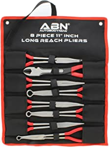 ABN 11in Plier 8-Piece Set – Long Reach Circle, Power Diagonal Cutting, S-Shape, Angled, and Straight Nose Pliers