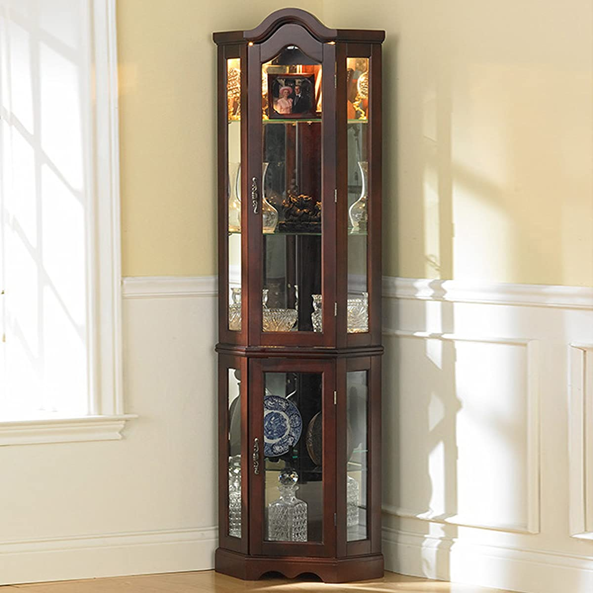 Southern Enterprises Lighted Corner Curio Cabinet, Mahogany Finish with Antique Hardware