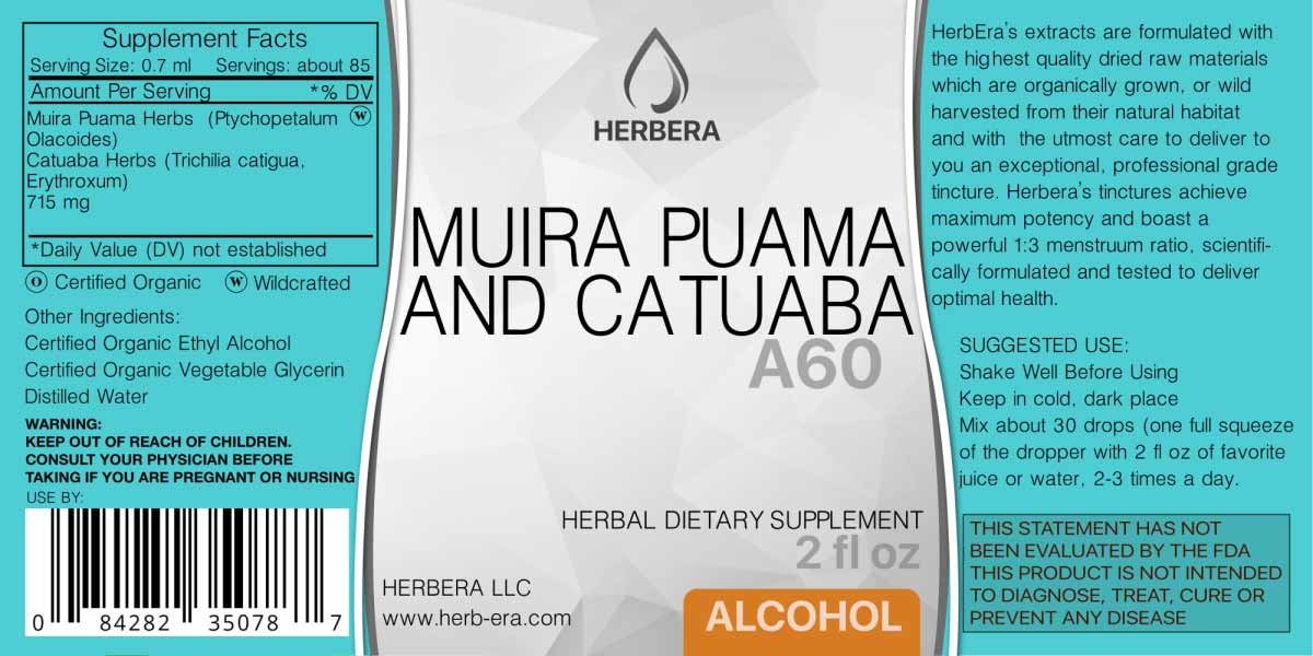 Amazon.com: Muira Puama and Catuaba A60 Alcohol Herbal Extract Tincture, Super-Concentrated (Ptychopetalum Olacoides and Trichilia catigua, ...
