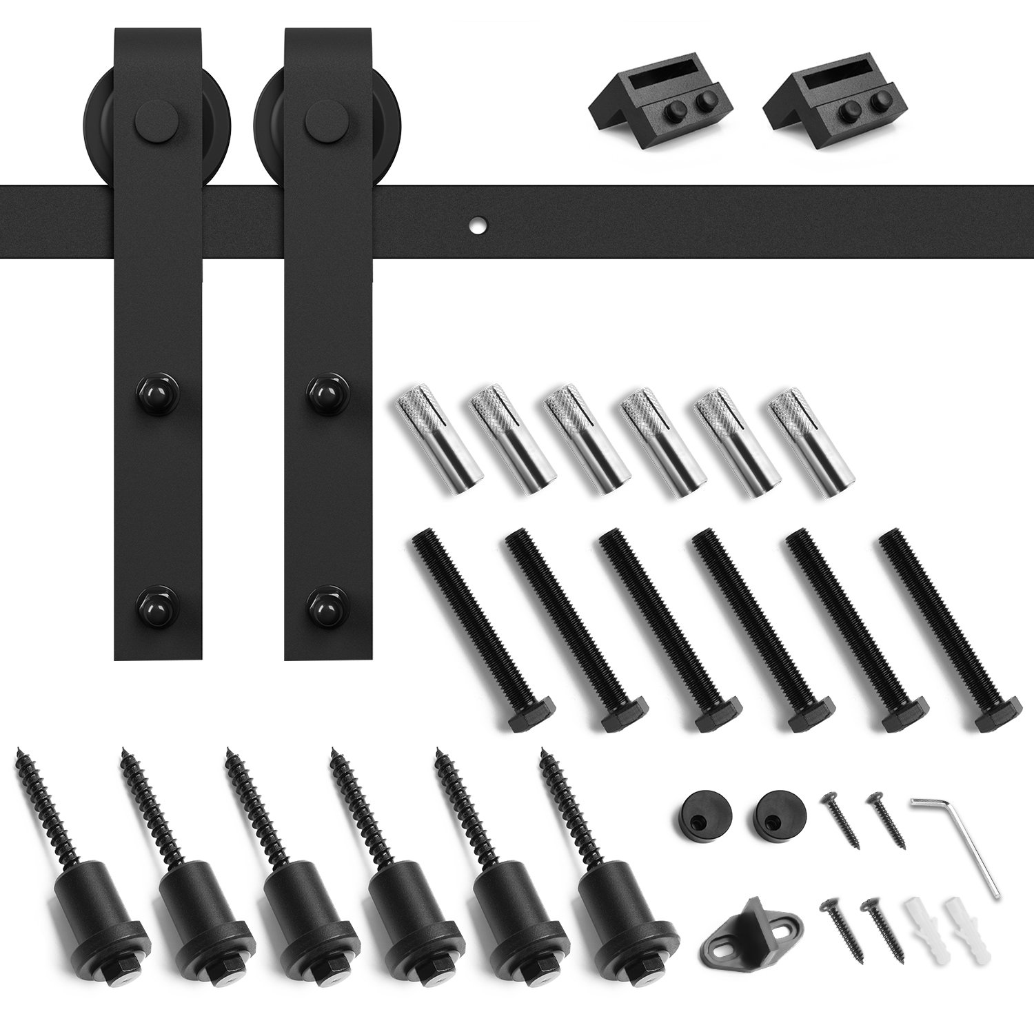 SMARTSTANDARD SDH-0080-STANDARD-BK Heavy Duty Sturdy Sliding Barn Door Hardware Kit, 8' SingleRail,Super Smoothly and Quietly, Simple and Easy to Install, Fit 42-48'' Wide DoorPanel by SMARTSTANDARD (Image #3)