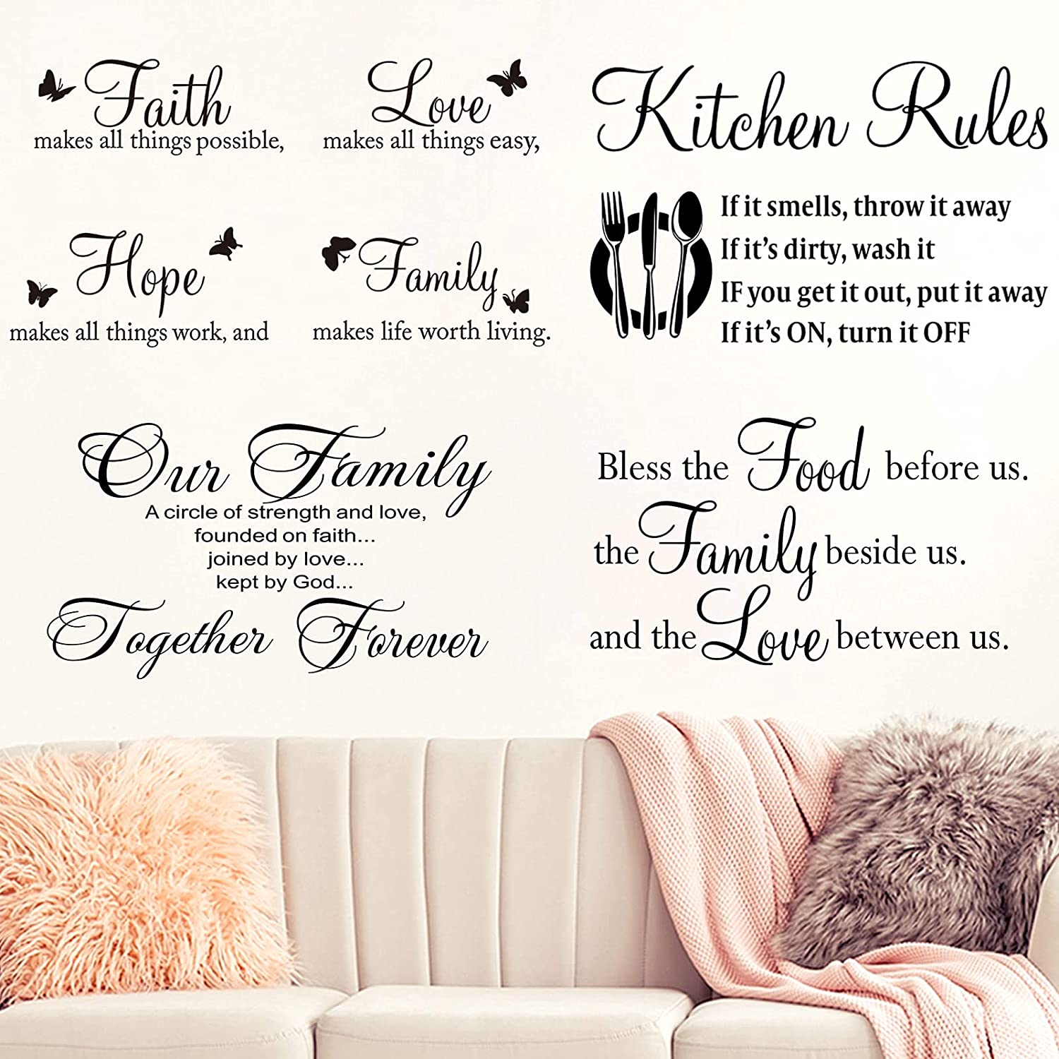 4 Pieces Vinyl Wall Quotes Stickers Family Wall Decal Set Faith Hope Love Scripture Stickers Kitchen Rules Wall Stickers Bless The Food Wall Decor for Kitchen Dining Room Bedroom Living Room