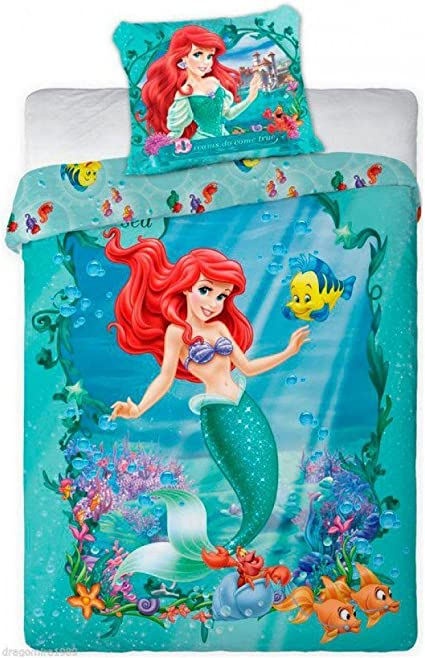 Set Letto ARIEL Sirenetta Principesse Disney COPRIPIUMINO  Federa Cotone 160x200