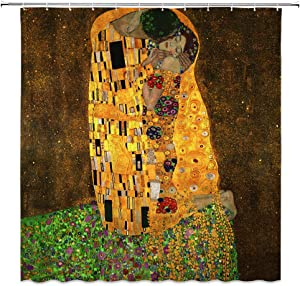 Art Painting Shower Curtain,The Kiss by Gustav Klimt Famous Artwork Retro Print Fabric Bathroom Decor,Hooks Included,71 X 71 Inches,Yellow Brown