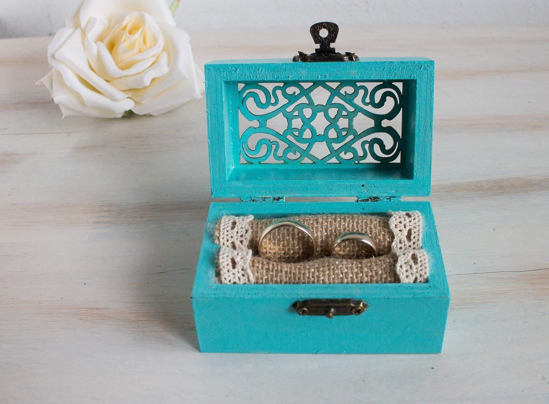 Turquoise Wedding box Rustic ring box Ring bearer box Blue Wedding ring box Ring holder Engagement ring box Proposal ring box Lace ring box