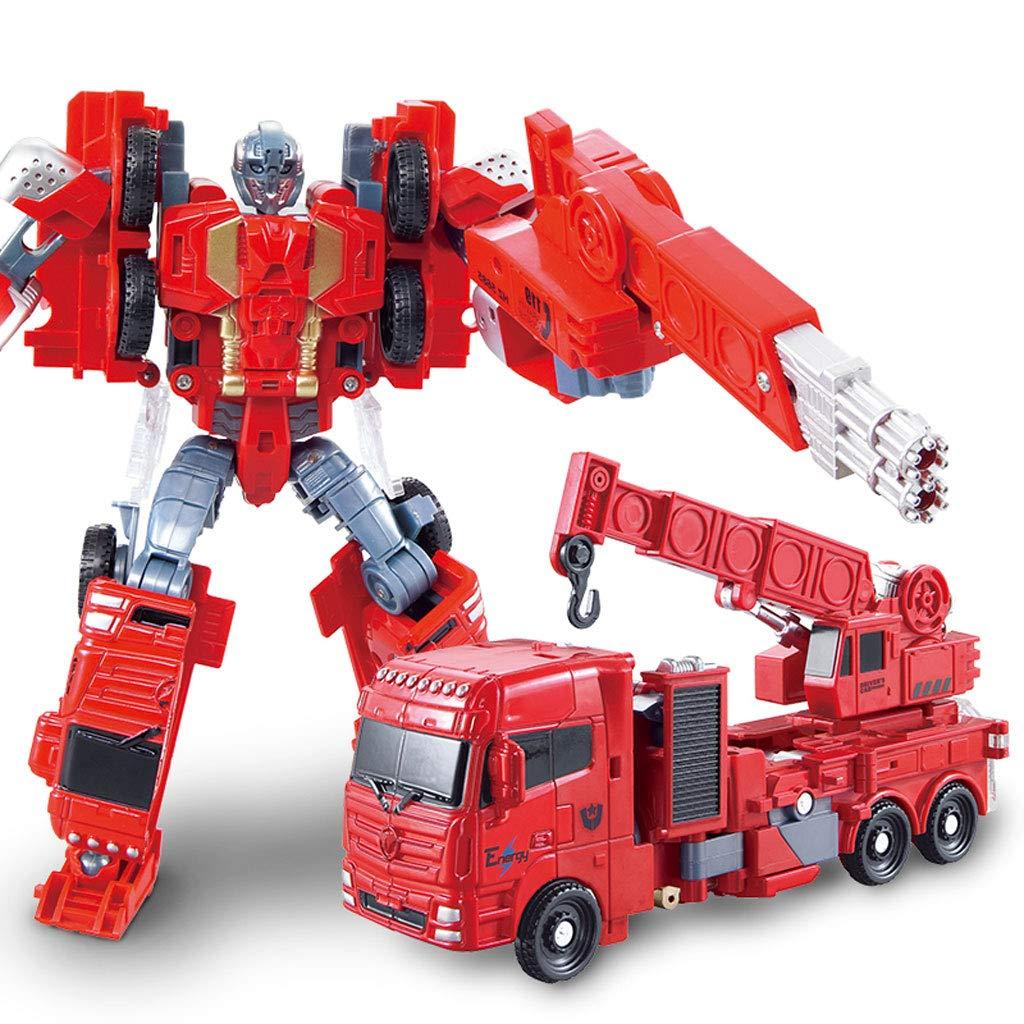 Siyushop Heroes Rescue Bots,5-in-1 Robot Model,Motorcycle, Fire Truck, Big Crane, Excavator, Ambulance, Combat Robot Model,Children's Deformation Toy (Color : Big Crane)
