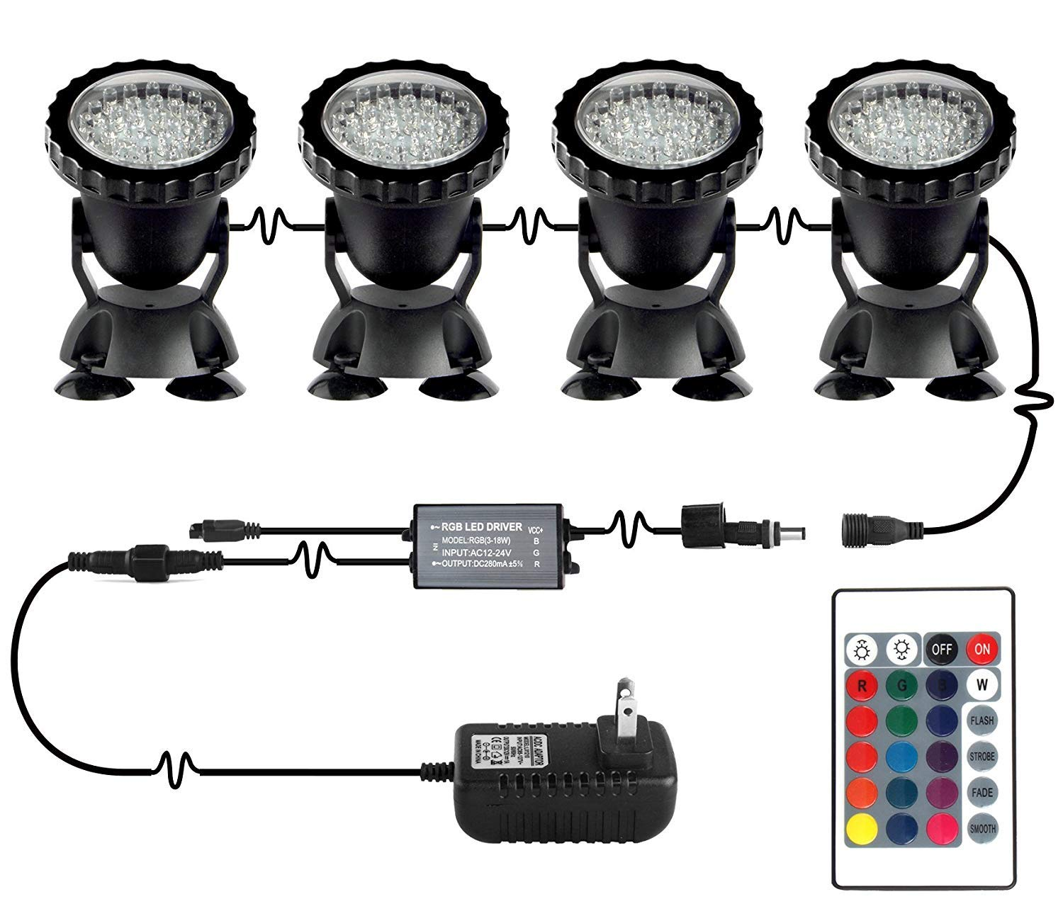 Pond Lights NEW UPGRADED Remote Control Submersible Lamp IP68 Totally Full Waterproof Underwater Aquarium Spotlight 36-LED Multi-color Decoration Landscape Lamp for Swimming Pool Fish (Set of 4)