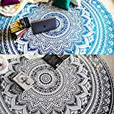 Set of 2 Ombre Mandala Round Tapestry Hippie Indian Mandala Roundie Picnic Table Cover Hippy Spread Boho Gypsy Cotton Tablecloth Beach Towel Meditation Round Yoga Mat - 72, Black/Grey and Blue
