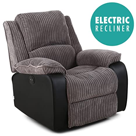 Superb Postana Jumbo Cord Fabric Power Recliner Armchair Electric Sofa Reclining Chair Grey Gmtry Best Dining Table And Chair Ideas Images Gmtryco