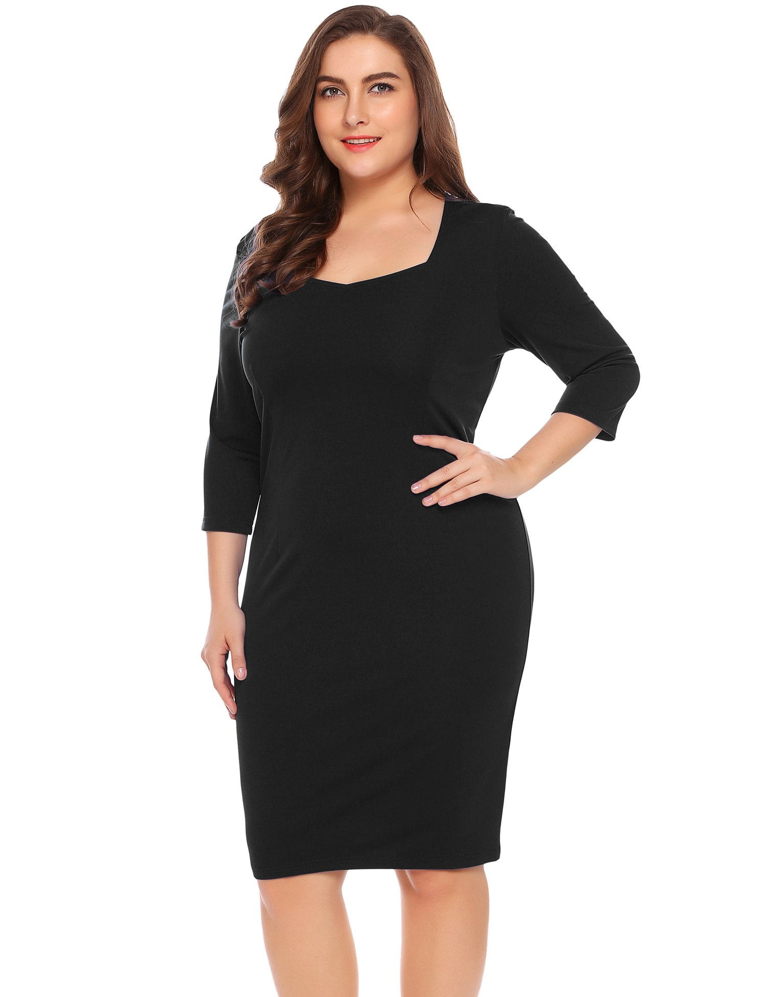 IN'VOLAND Women's Plus Size Sweetheart Neck 3/4 Sleeve Pencil Dress, Black, 20 Plus