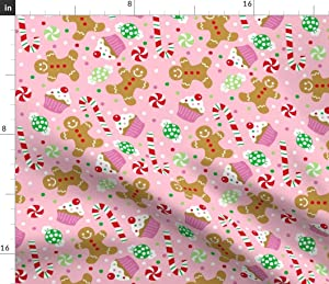 Spoonflower Fabric - Christmas Candy Treats Pink Cupcake Polka Dots Gingerbread Holiday Printed on Denim Fabric by The Yard - Bottomweight Apparel Home Decor Upholstery